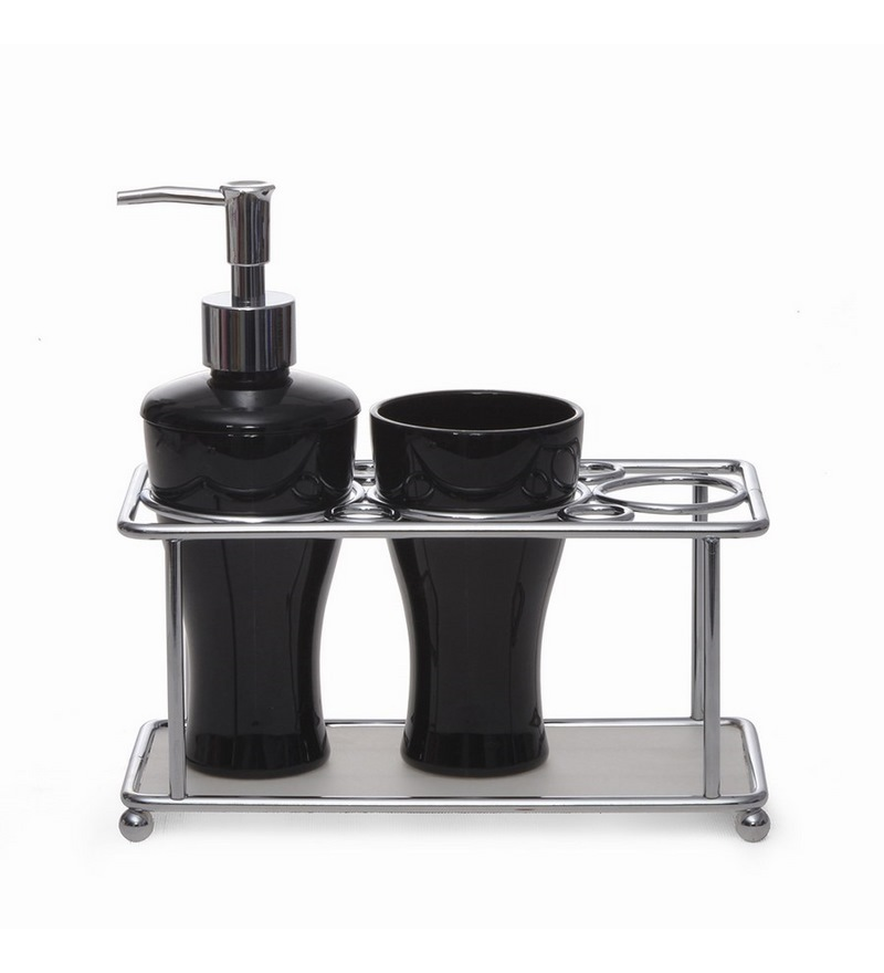 Home black tray bathroom set by home online bathroom for Black bathroom ensembles