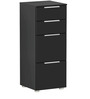 Hikoru Chest of Four Drawers in Gloss Black Finish by Mintwud