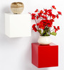 Bluewud White & Red MDF & Duco Colorcube Wall Shelf Set