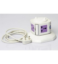 BMS White and Lavender 5.5 x 4.3 x 5.5 Inch 4 Points Portable Extension Socket
