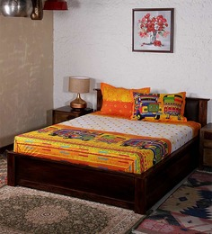 Bombay Dyeing Yellow Cotton Abstract Double Bed Sheet (with Pillow Cover) - Set of 3