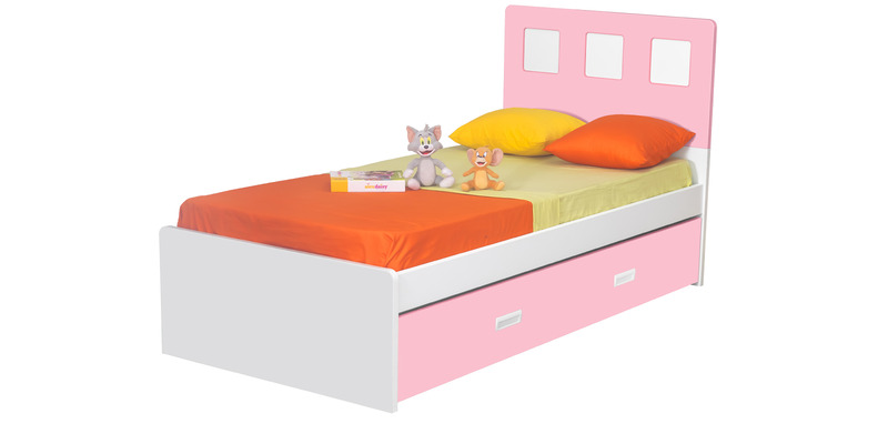 Boston Single-Size Bed in Pink & White Colour by Alex Daisy