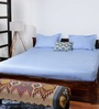 Bombay Dyeing Blue Cotton Striped Double Bed Sheet (with Pillow Covers)