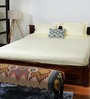 Bombay Dyeing Yellow Cotton Striped Double Bed Sheet (with Pillow Covers)