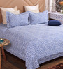 Bombay Dyeing Blue Cotton King Size Bedsheet - Set of 3