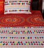 Bombay Dyeing Red Cotton Abstract Double Bed Sheet (with Pillow Cover) - Set of 3