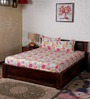 Bombay Dyeing Pink Poly Cotton Floral Double Bed Sheet (with Pillow Cover)