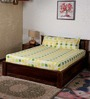 Bombay Dyeing Yellow Poly Cotton Abstract Double Bed Sheet (with Pillow Cover) - Set of 3