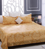 Bombay Dyeing Golden 100% Cotton Queen Size Bed Sheet - Set of 3