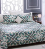 Bombay Dyeing Green 100% Cotton Queen Size Bed Sheet - Set of 3