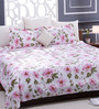 Bombay Dyeing Pink 100% Cotton Queen Size Bed Sheet - Set of 3