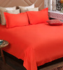 Bombay Dyeing Red Cotton Queen Size Bedsheet - Set of 3