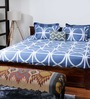 Bombay Dyeing Reverie Blue Cotton Solid Double Bed Sheet (with Pillow Covers)