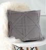 Bombay Mill Grey Cotton Linen 16 x 16 Inch Criss Cross Cushion Cover