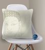 Bombay Mill Off-white & Light Golden Cotton 16 x 16 Inch Buddha Face Embroidery Cushion Cover