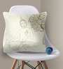 Bombay Mill Off-white & Light Golden Cotton 16 x 16 Inch Buddha & Bodhi Tree Embroidery Cushion Cover
