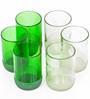 BOTL 300 ML Small Green & Small CLear Drink Glasses - Set of 6