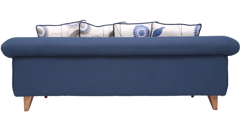 Brussels Repose Single Seater Sofa With Throw Pillows In Navy Blue Colour By