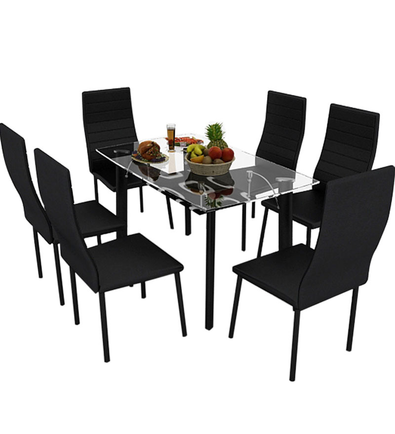 Bright Six Seater Dining Set in Black Colour by Housefull