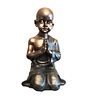 Browse House Bronze & Dark Green Polyresin Folding Hands Small Baby Monk Figurine