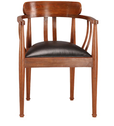 Bucket chair - Teak wood leather by Tube Style
