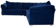 Carina Five Seater Corner Sofa Set in Steel Blue Colour by CasaCraft