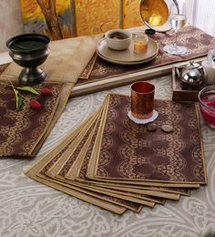 Cannigo Beige & Brown Fibre Placemats With Runners - Set Of 10