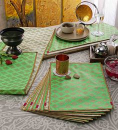 Cannigo Cream & Green Fibre Placemats With Runners - Set Of 10 - 1589198