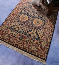 Carpet Overseas Blue & Red Wool 64 X 48 Inch Bakhtiyari Design Hand Knotted Area Rug