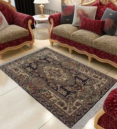 Carpet Overseas Black Wool 36 x 61 inch Ethnic Carpet