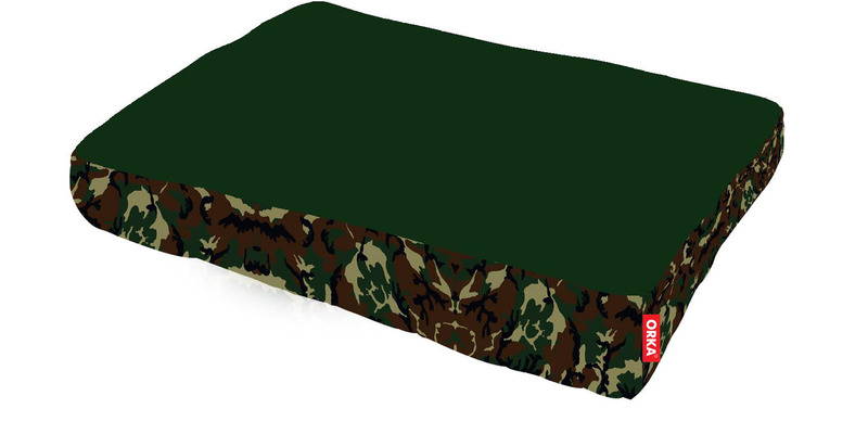 Camouflage Square Pet Filled Bean Bag in Green Colour by Orka