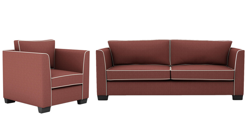 Carolina Sofa Set (3+1) Seater in Cherry Colour by ARRA