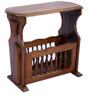 Campinas Magazine Rack cum Table in Provincial Teak Finish by Amberville