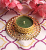 Candles N Beyond Green Wax Tea Light Holder with Floating Candle