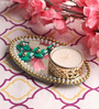 Candles N Beyond White Metal Mirror Tray with Tea Light Holder with Kundan