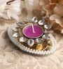 Candles N Beyond Purple Metal Mirror Tray with Pearl Beads & Kundan Tea Light Holder Stand