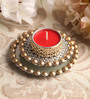 Candles N Beyond Red Metal Mirror Tray with Gold Beads & Tea Light Holder Stand Yellow