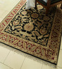 Carpet Overseas Black & Red Wool 85 x 61 Inch Persian Design Hand Knotted Area Rug