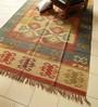 Carpet Overseas Blue & Gold Jute 108 x 72 Inch Kilim Design Flatweave Area Rug