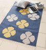 Carpet Overseas Blue & Yellow Cotton 60 x 38 Inch Floral Area Rug