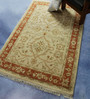 Carpet Overseas Ivory & Rust Wool 72 x 46 Inch Persian Design Hand Knotted Area Rug