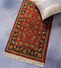 Carpet Overseas Red Wool 36 x 22 Inch Persian Design Hand Knotted Area Rug