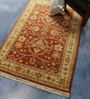 Carpet Overseas Rust & Ivory Wool 68 x 46 Inch Persian Design Hand Knotted Area Rug