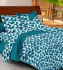 Casa Basic Blue Abstract Patterns Cotton Queen Size Bed Sheets - Set of 3