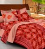 Casa Basic Red Indian Ethnic Cotton Queen Size Bed Sheets - Set of 3