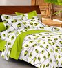 Casa Basic White & Green Nature & Florals Cotton Queen Size Bed Sheets - Set of 3