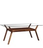 Kennewick Six Seater Dining with Glass in Provincial Teak Finish by Woodsworth