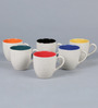 Cdi Marble Finish Stoneware 200 ML Tea Cups With Wooden Tray - Set of 6