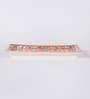 Cdi Red and White Stoneware Mughal Art Rectangular Platter