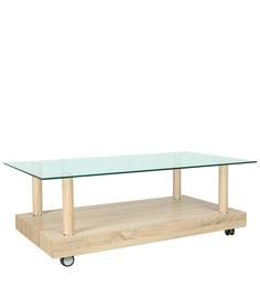 Center Table with Rectangular Glass Top & MDF Bottom in Natural Finish Laminate by Parin